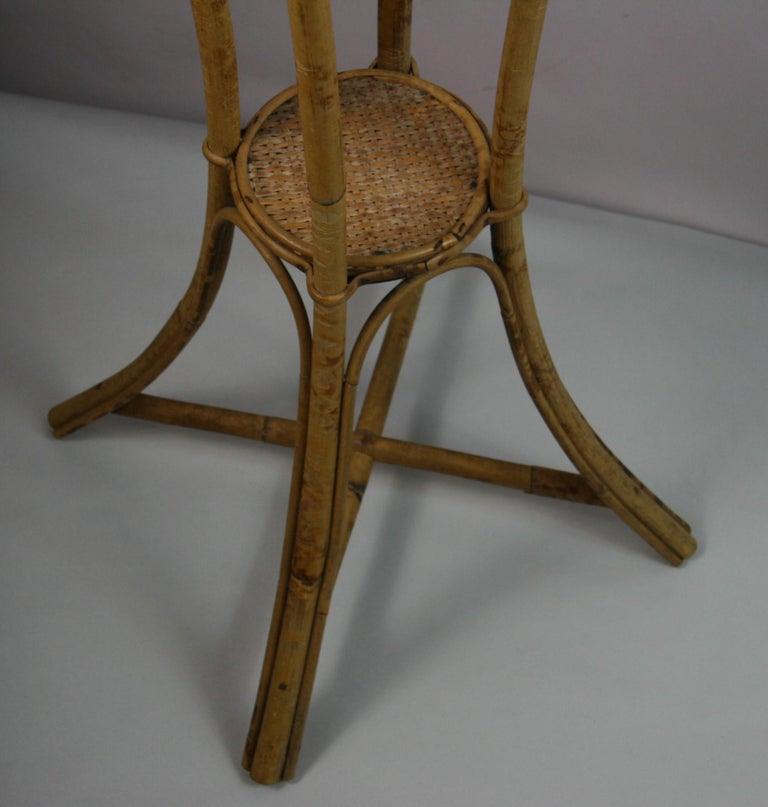 Mid-20th Century Bamboo and Rattan Plant Stand /Pedestal For Sale