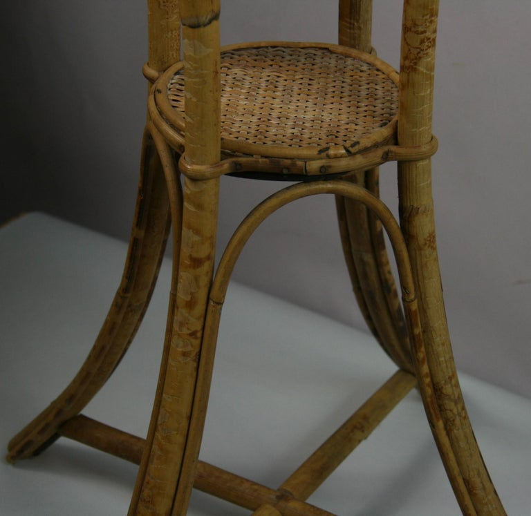 Bamboo and Rattan Plant Stand /Pedestal For Sale 1