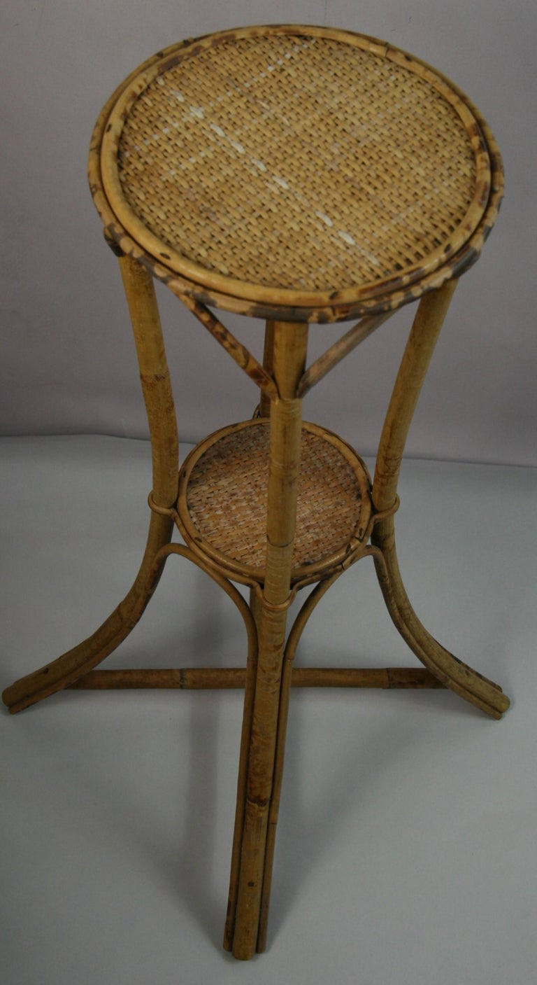 Bamboo and Rattan Plant Stand /Pedestal For Sale 4