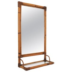 Bamboo and Rattan Rectangular Mirror with Glass Shelf, Spain, 1960s