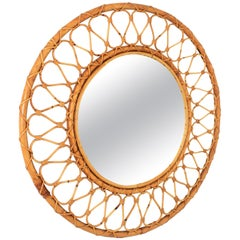 Bamboo and Rattan Round Mirror