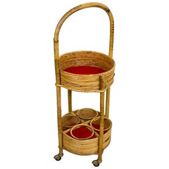 Bamboo and Rattan Round Service Side Bar Cart, Italy, 1960s