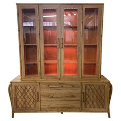 Bamboo and Rattan Sculptural Lighted China Cabinet