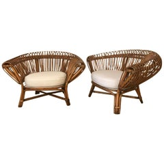 Bamboo and Rattan Sculptural Lounge Chairs, Italy, 1960