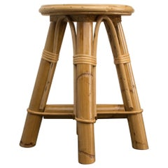 Bamboo and Rattan Stool, Set of 10 Available