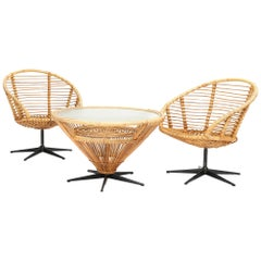 Bamboo and Rattan Swivel Chairs and Coffee Table