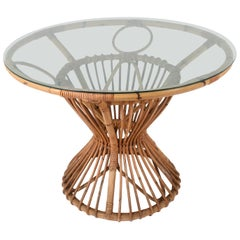 Bamboo and Rattan Table, Suitable for Franco Albini, Italy, 1960s