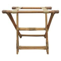 Bamboo and Rattan Woven Folding Luggage Stand