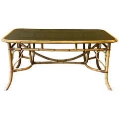 Bamboo and Smoked Glass Dining Table, 1970s