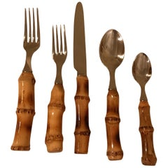 Bamboo and Stainless Flatware Set by Scof, France