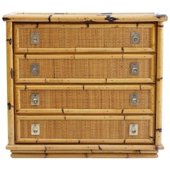 Bamboo and Wicker Chest of Drawers by Dal Vera, Italy, 1960s