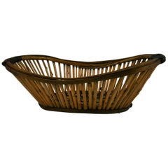Bamboo and Wicker Fruit Basket/Folk Art