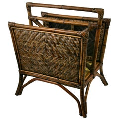 Bamboo and Wicker Magazine Rack