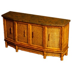 Bamboo and Wicker Sideboard by American of Martinsville, circa 1950, Signed