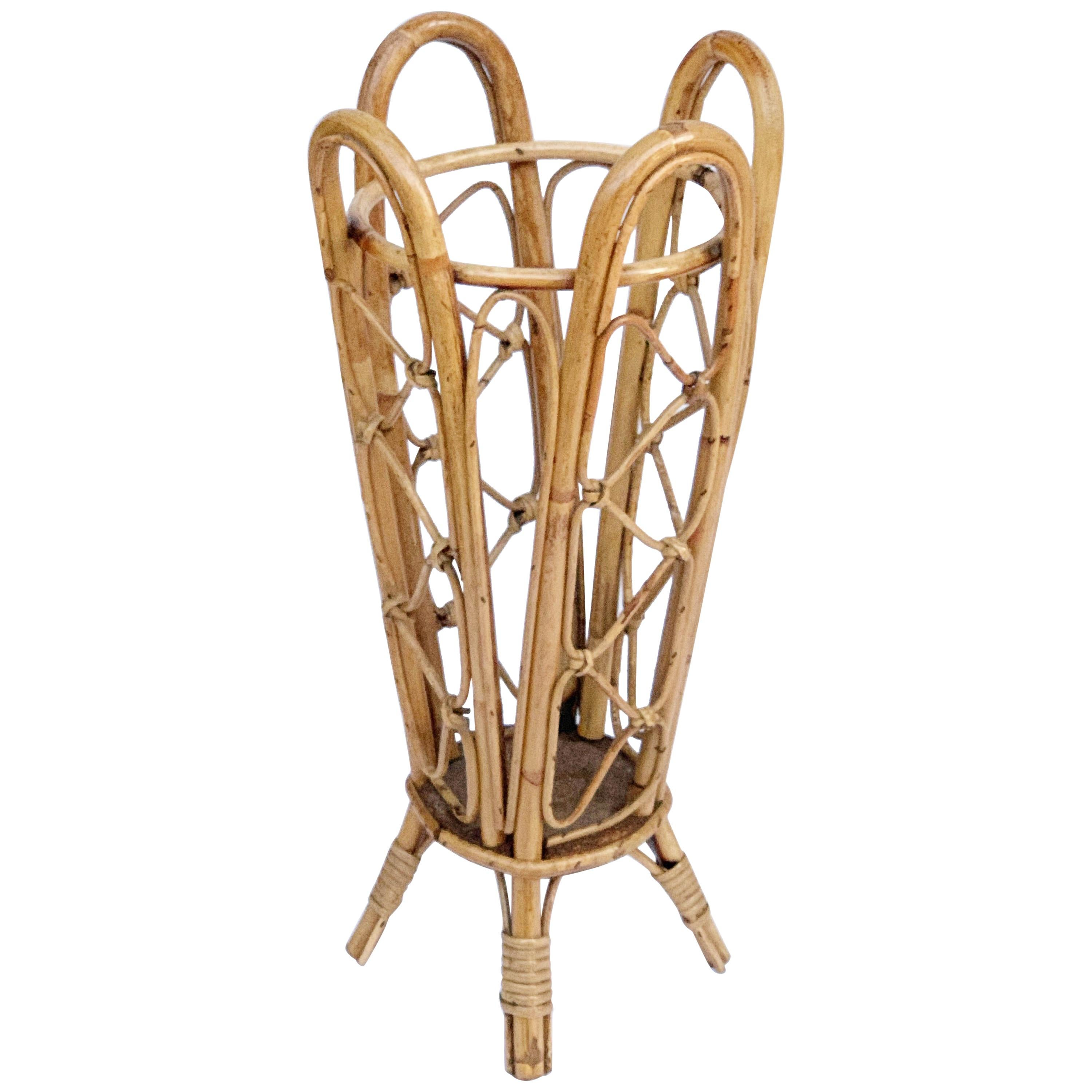Bamboo and Wicker Umbrella Stand in the Style of Franco Albini, Italy, 1950s