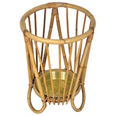 Bamboo and Wicker Umbrella Stand in the Style of Franco Albini, Italy, 1960s