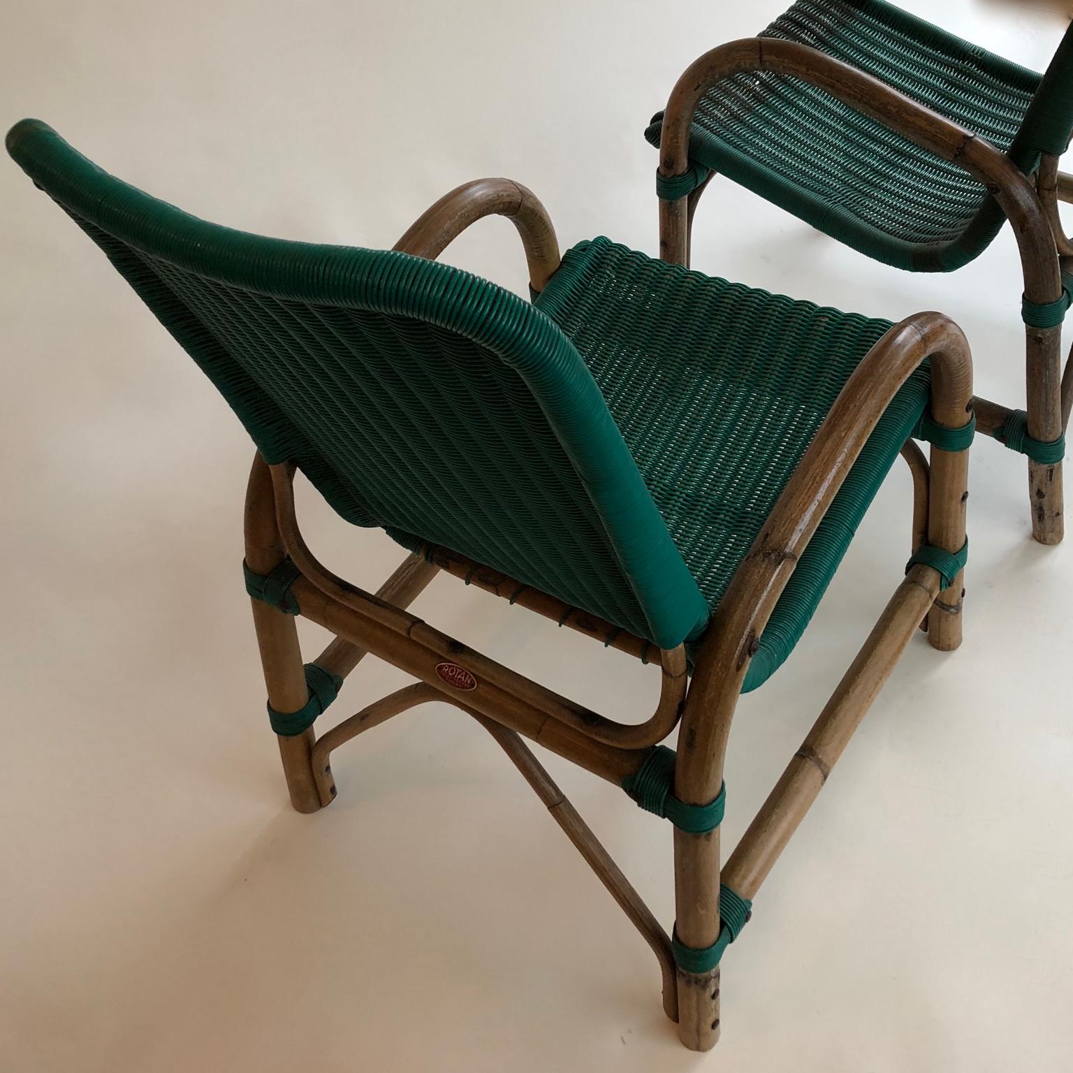 Egg Chair Rotan.Bamboo Armchairs With Green Seats Circa 1960s A Pair By Rotan