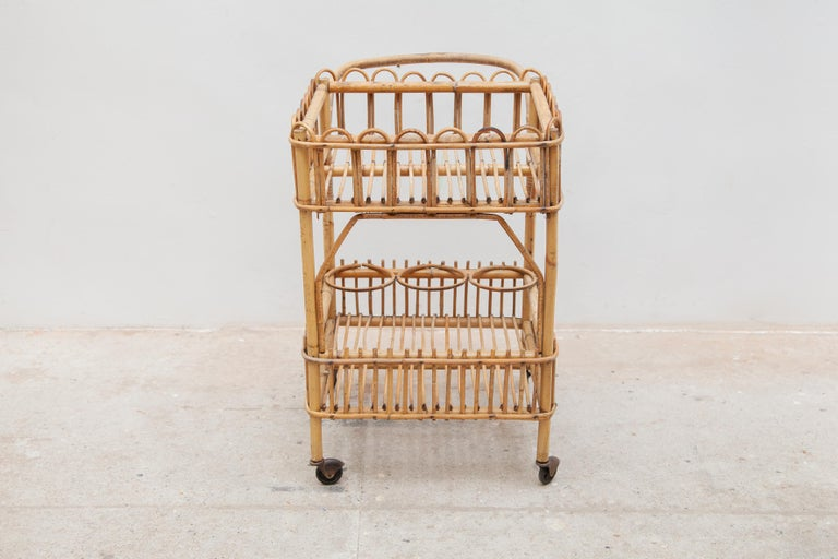 Mid-Century Modern Bamboo Bar-Cart, Serving Trolley, 1950s, Italy For Sale