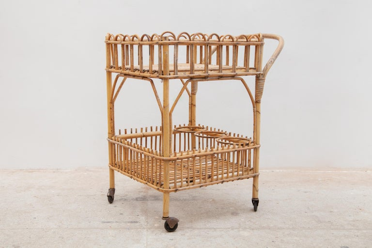 Hand-Crafted Bamboo Bar-Cart, Serving Trolley, 1950s, Italy For Sale