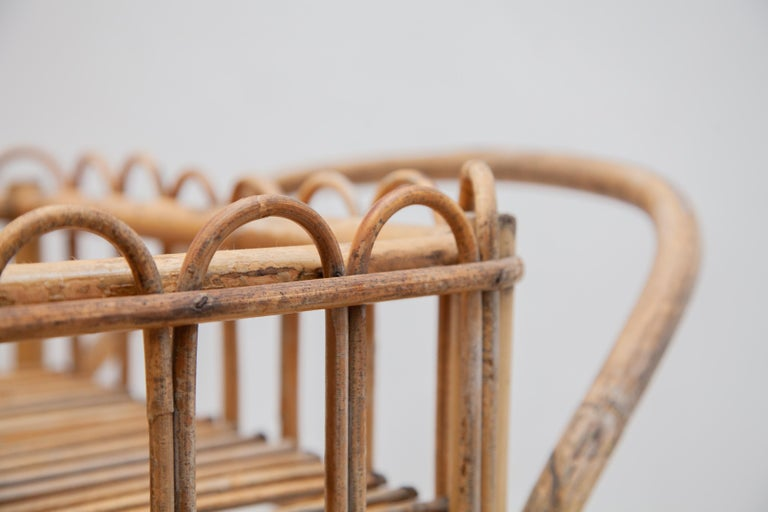 Mid-20th Century Bamboo Bar-Cart, Serving Trolley, 1950s, Italy For Sale