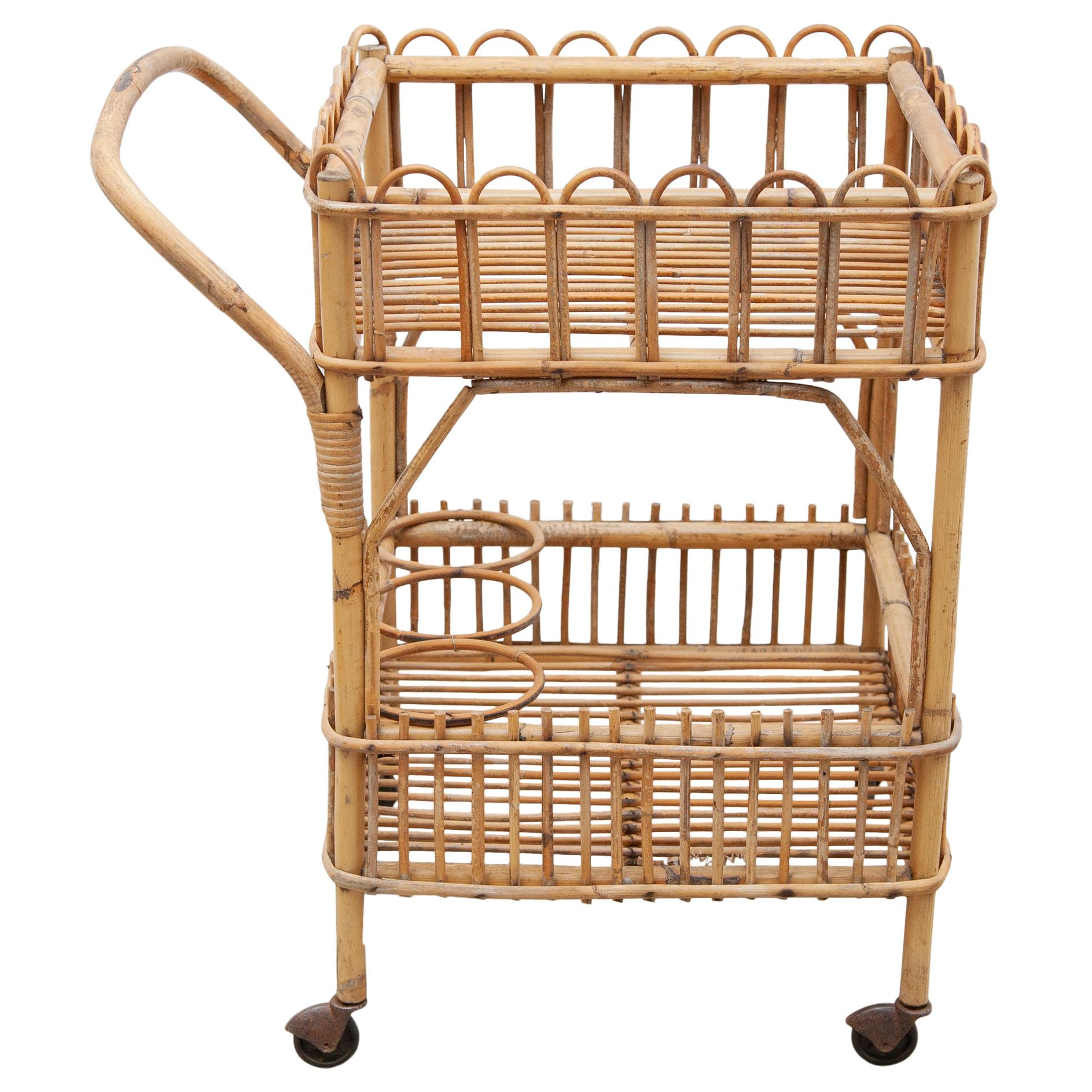 Bamboo Bar-Cart, Serving Trolley, 1950s, Italy