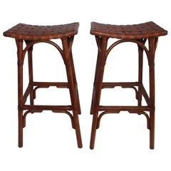 Bamboo Bar Stools with Leather Seats, Pair