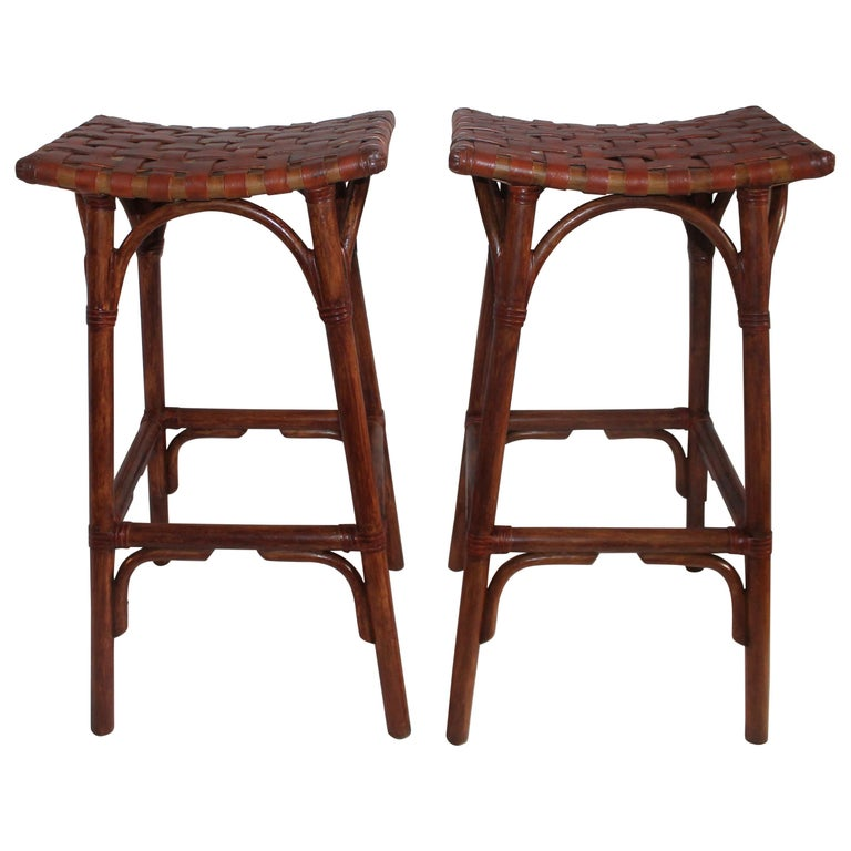 Bamboo Bar Stools with Leather Seats, Pair For Sale at 1stdibs