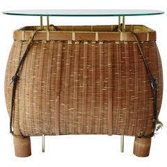 Bamboo Basket Table Ryosuke Harashima Contemporary Zen Japanese Bamboo Basket