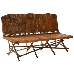 1920s English Bamboo Slatted Country Bench