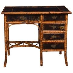 Bamboo Black Lacquered Writing Desk