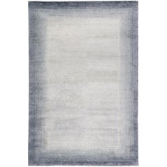 Bamboo Border Blue 10x8 Rug in Bamboo Yarn by The Rug Company