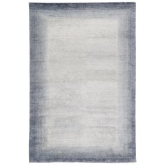 Bamboo Border Blue Area Rug in Bamboo Yarn by The Rug Company