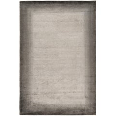 Bamboo Border Charcoal 10x8 Rug in Bamboo Yarn by The Rug Company