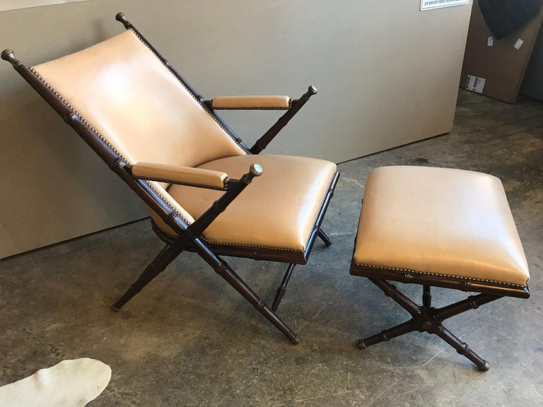 American Bamboo, Brass and Leather Lounge Chair and Ottoman by Hickory Chair Co. For Sale