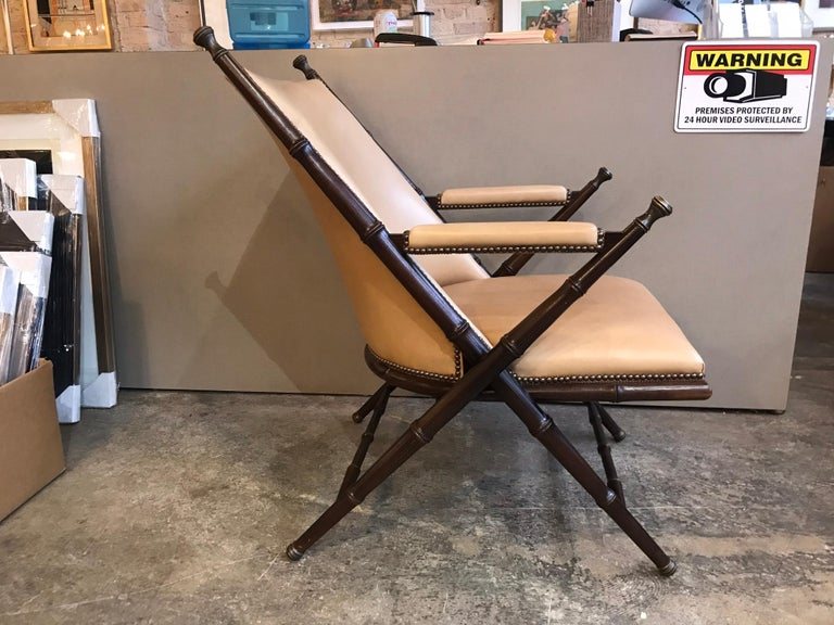 Early 20th Century Bamboo, Brass and Leather Lounge Chair and Ottoman by Hickory Chair Co. For Sale