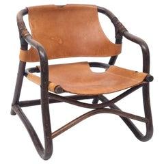 Bamboo Brown Leather Safari Lounge Chair, 1960s