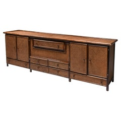Bamboo & Cane Credenza with Multiple Drawers, Italy, 1970s