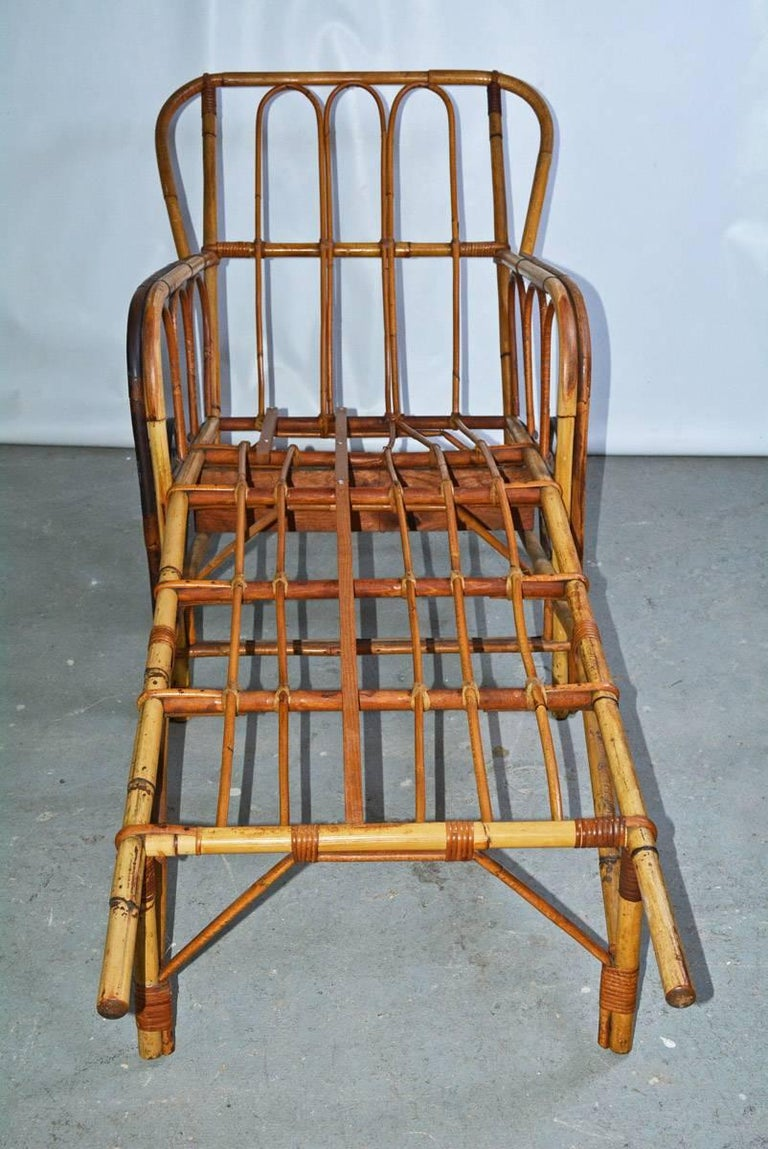 Organic Modern Bamboo Chaise Longue Chair on Wheels For Sale