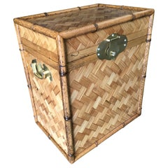 Bamboo Chest with Woven Wicker Cover and Cedar Interior