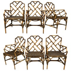 Bamboo Chinese Chippendale Dining Chairs, Set of 6