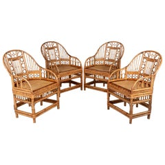 Bamboo Chinese Export Chairs, Set of 4