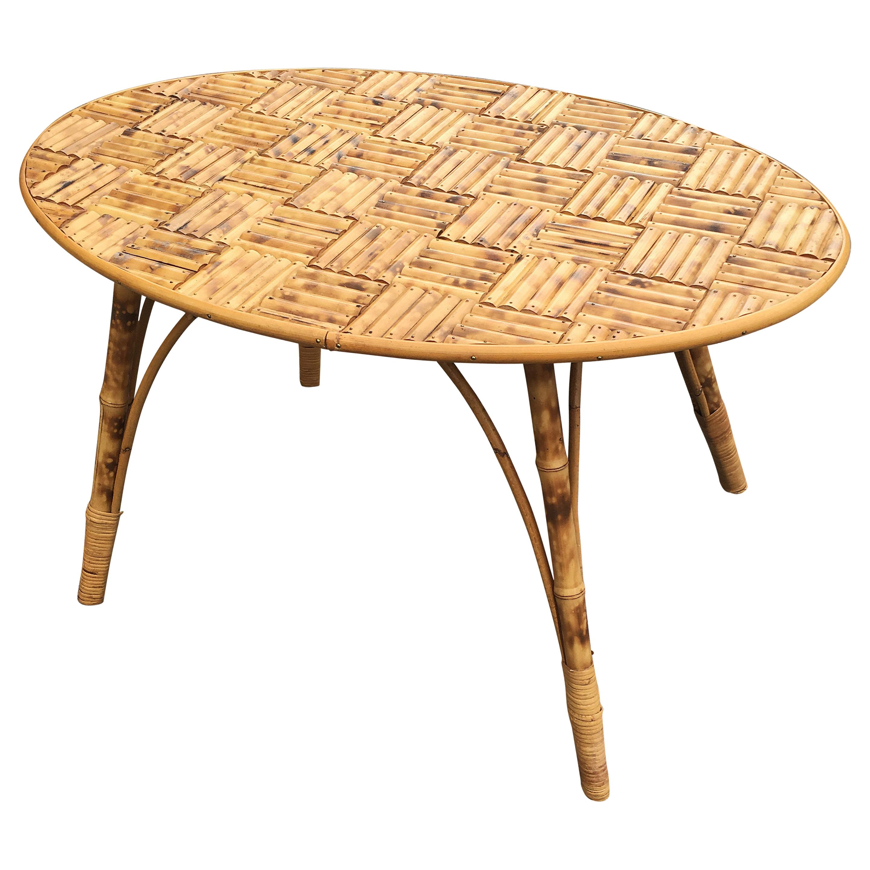 Bamboo Coffee Table Tray Made Of Sticks Fixed By Small Br Nails For At 1stdibs