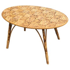 Bamboo Coffee Table, Tray Made of Bamboo Sticks Fixed by Small Brass Nails