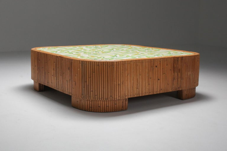 Tropicalist coffee table, bamboo, Vivai del Sud, 1970s, Italy.