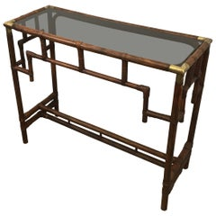 Bamboo Console Table with Brass Corners and Smoked Glass Shelf, French