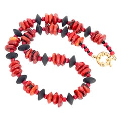 "Gemjunky BoHo Chic 19.5"" Bamboo Coral & Black Onyx Necklace"