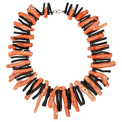 Bamboo Coral Black Agate 925 Silver Reaf Choker Tribal Warrior Branches Necklace