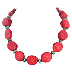 Bamboo Coral, Turquoise, and Spinel Necklace