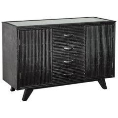 Bamboo Covered Oak Sideboard in Black by Angrave's