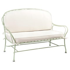 Bamboo Design Green Wrought Iron Sofa